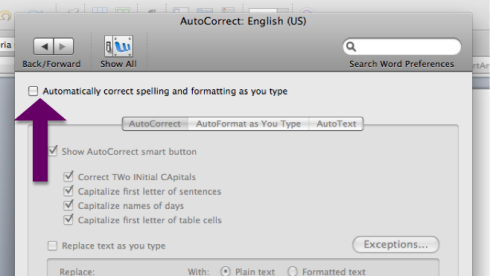 Turn off Auto-Correct and Auto-Format by un-checking the relevant boxes in Preferences.