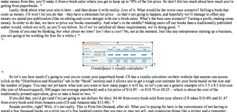 Inserting images in e-books.