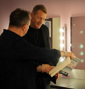Preparing in the Green Room, Declan Hughes and Lee Child. Photo by Ger Holland Photography