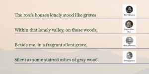 Four lines of poetry from Verse by Verse: The roofs of houses lonely stood like graves Within that lonely valley, on those woods, Played a silent night from my silent grave Silents as some stained ashes of grey wood